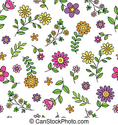 春天, 漂亮, 花, 心不在焉地亂寫亂畫, 圖案