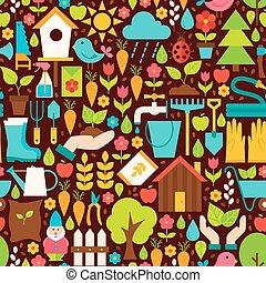 春天, 花園, 矢量, 套間, 設計, 布朗, seamless, 圖案
