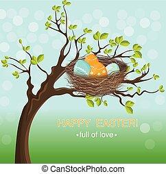 春天, 蛋, 主题, vector., 假日, 东方, 巢, 卡片