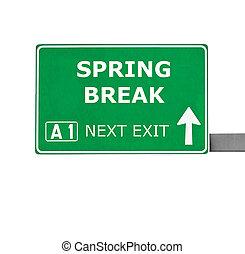 春天, 隔离, 签署, 打破, 白色, 道路