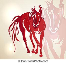 春節, 2014, 紅色, 步行, 馬