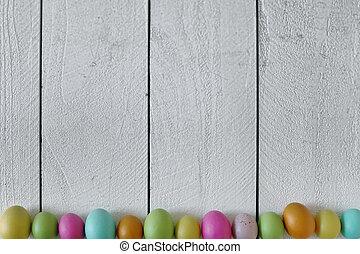 春, ∥あるいは∥, イースター, themed, 背景, の, 古い, 木, そして, 着色された卵, 並ばれる