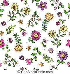 春, かわいい, 花, いたずら書き, パターン