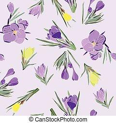 春, すみれ, 黄色, クロッカス, コレクション, パターン, 花