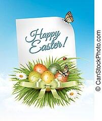 春, イースター, バックグラウンド。, イースターエッグ, 中に, 草, ∥で∥, flowers., vector.
