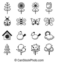 春, オブジェクト, セット, 季節, アイコン