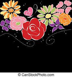 春, カラフルな花, 上に, 黒い背景