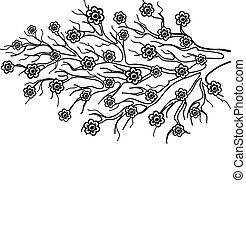 春, シンボル, ブランチ, 木, 咲く
