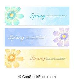 春, セット, 旗, 背景, 季節
