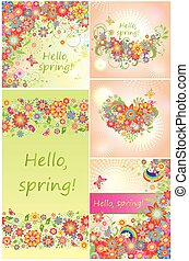 春, セット, 背景