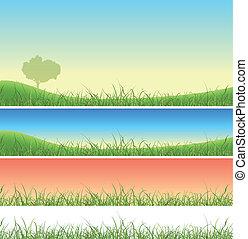春, セット, 草, 緑の風景