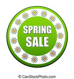 春, セール, ラベル, 緑, 円, 花