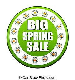 春, セール, ラベル, 緑, 大きい, 円, 花