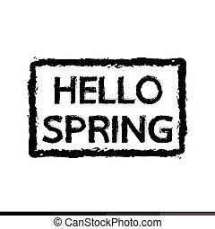 春, デザイン, こんにちは, イラスト, 活版印刷