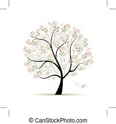 春, デザイン, 木, あなたの, ばら