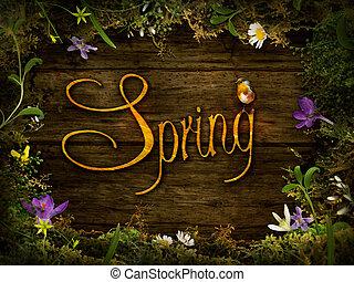 春, デザイン, 花輪, -, 花