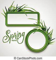 春, フレーム, ベクトル, grass., 病気