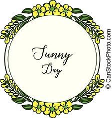 春, フレーム, 花輪, 日当たりが良い, イラスト, 装飾, ベクトル, 日