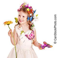 春, ヘアスタイル, butterfly., 子供