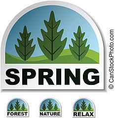 春, ベクトル, ステッカー, 森林, 木