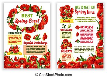 春, ベクトル, 花束, ポスター, ケシ, 花, 赤