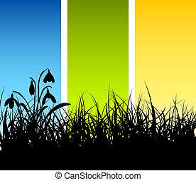 春, ベクトル, 草, 背景