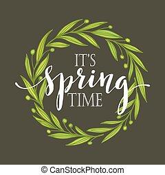 春, ベクトル, 言葉, wreath., イラスト