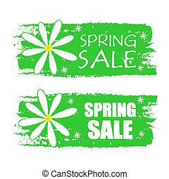 春, ラベル, セール, 緑, 引かれる, 花, サイン