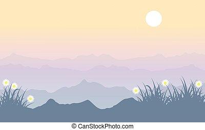 春, 丘, 風景