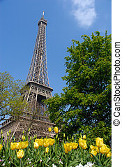 春, 中に, パリ, eiffel タワー