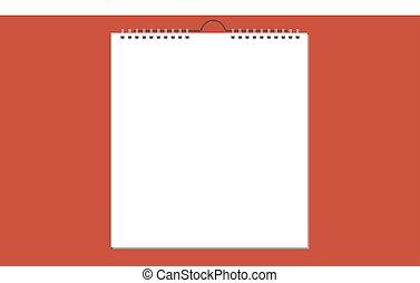 春, 壁, ベクトル, ブランク, カレンダー, カード, design.