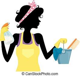春, 女の子, シルエット, 清掃, イラスト