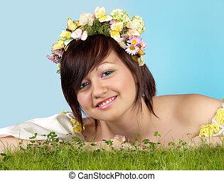 春, 女の子, 中に, 草