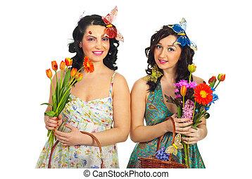 春, 女性, 花, 新たに