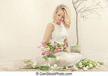 春, 女, tulips., 若い, 肖像画