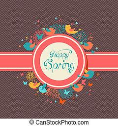 春, 幸せ, 型, イラスト, ラベル