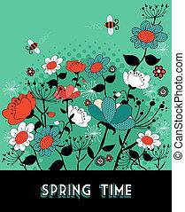 春, 庭, 背景, 時間