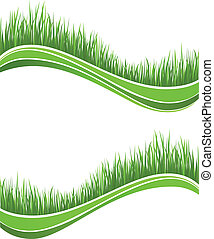 春, 新たに, 緑の草, 波