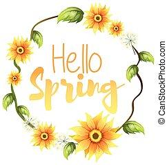 春, 旗, こんにちは, テキスト