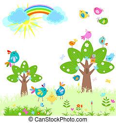 春, 明るい, 虹