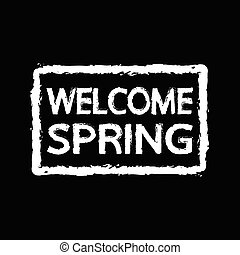 春, 歓迎, デザイン, 活版印刷, イラスト