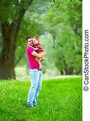 春, 父, 息子, 森林, 屋外で, 遊び, 幸せ