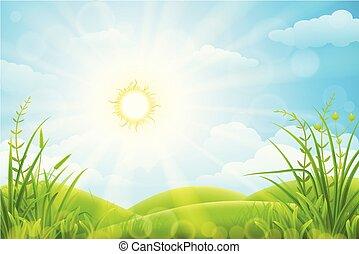 春, 牧草地, 風景