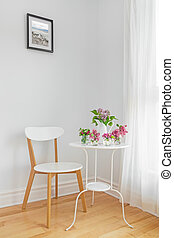 春, 現代, 内部, 白い花, 家具
