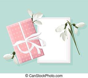 春, 白, 箱, 場所, バラ, snowdrops., テキスト, 贈り物