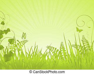 春, 穏やかである, 緑の背景