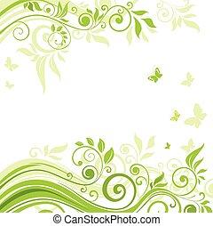 春, 緑の背景
