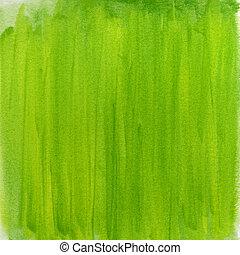 春, 緑, 水彩画, 抽象的, 背景