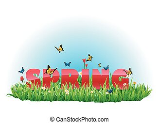 春, 緑, 牧草地, あなたの