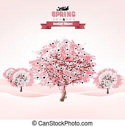 春, 背景, ∥で∥, 開くこと, sakura, 木。, vector.
